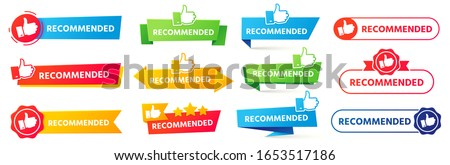 Recommended banner. Best recommendation badge, bestseller tag and tor rating advice banners vector set. Thumb up icons with color ribbons, promotion marketing advertising stickers, positive feedback Foto stock ©