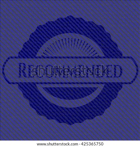Recommended emblem with denim high quality background