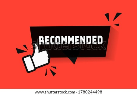 Recommended icon for great deal advice banner with thumb up sign. Best price banner design vector illustration. Good choice guarantee badge label for bestseller top product. Sale promotion design V3 商業照片 ©