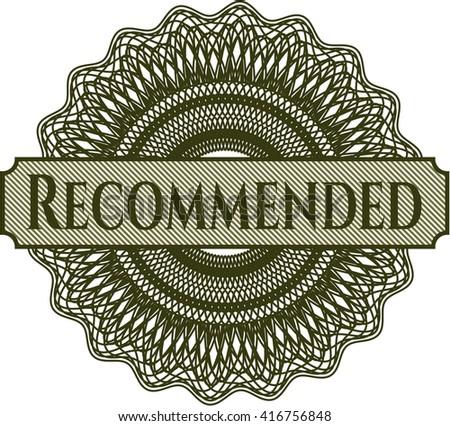 Recommended inside money style emblem or rosette