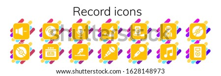 record icon set 14 filled