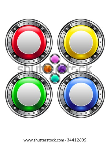 Record media player icon on round colorful vector buttons suitable for use on websites, in print materials or in advertisements.  Set includes red, yellow, green, and blue versions.