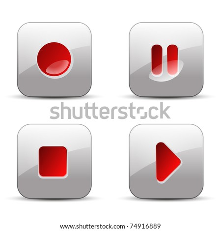 record, pause, stop and play vector illustration buttons