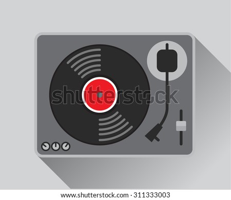 free vintage record player vector illustration - download free