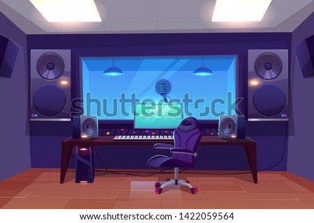 Record producer or audio engineer workplace, recording studio control room interior cartoon vector with armchair near mixing console, loudspeakers, live room with microphone under glass illustration