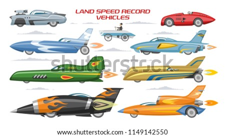 Record speed car vector landspeed automobile and fast vehicle transport on autoshow illustration machinery set of modern auto motorshow and land speedrecord machine isolated on white background
