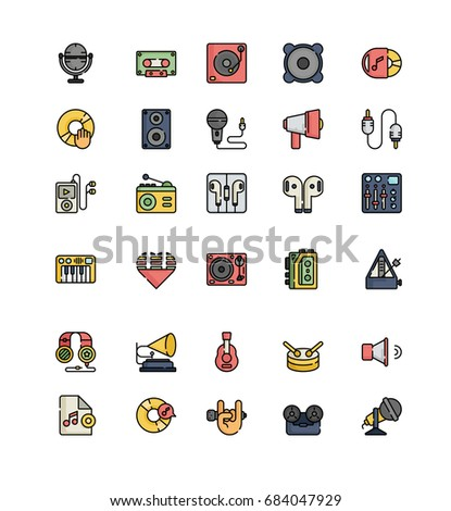 Record studio lineal color icons vector.