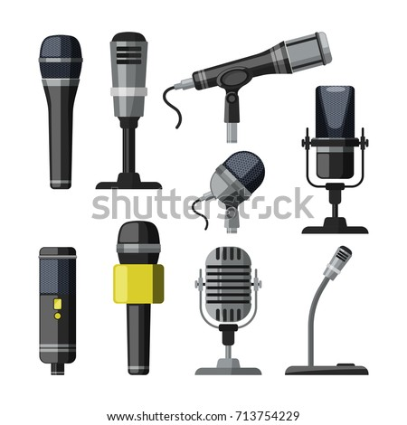 Recorder, microphone and dictaphone for reporters. Vector illustrations in cartoon style microphone equipment and dictaphone for record multimedia