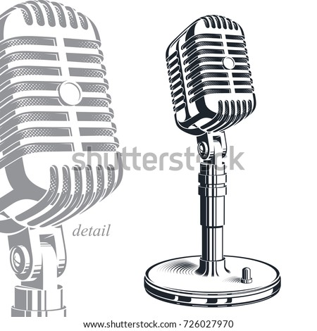 Recorder microphone vector illustration isolated on white. Entertaining and informational show studio microphones, social announcement.