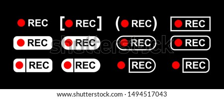 Recording sign, red panel, rec. vector illustration Photo stock ©