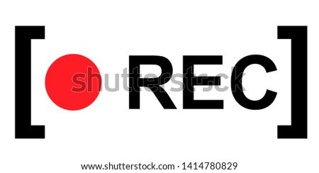 Recording sign, red panel, rec, vector symbol isolated on white background . Photo stock ©