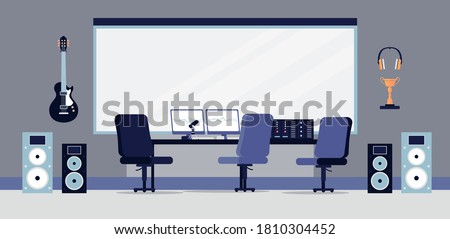 Recording studio interior with sound equipment and furniture, flat vector illustration. Empty studio for music production with workplace of sound engineer.