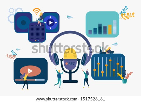 Recording studio, news, interviews, music, dubbing, sound recording on the radio into a microphone, work on recording a video for a video blog Stok fotoğraf ©