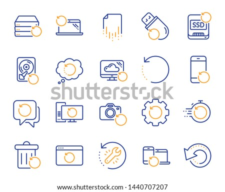 Recovery line icons. Backup, Restore data and recover document. Laptop renew, repair and phone recovery icons. Drive fix, restore information and return data. Backup document. Vector
