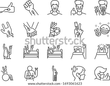 Recovery patients line icon set. Included icons as Positive thinking, sickness, illness, good mental and more. ストックフォト ©