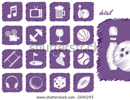 Recreation Icons and Symbols with scribbled texture