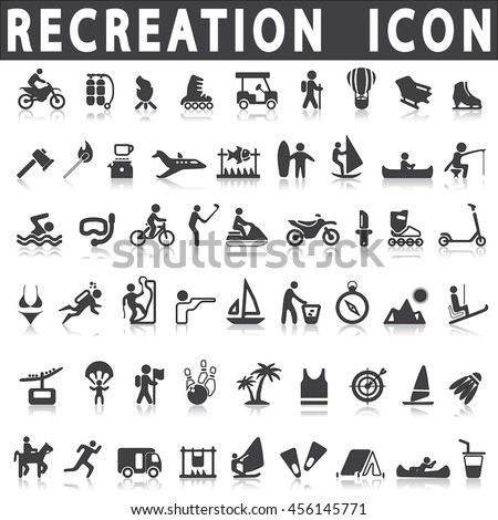 Recreation icons on a white background with a shadow - Shutterstock ID 456145771