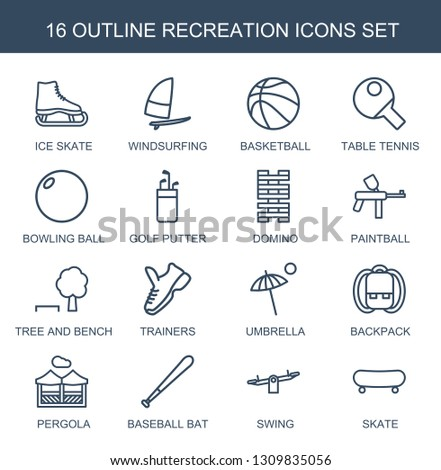 recreation icons. Trendy 16 recreation icons. Contain icons such as ice skate, windsurfing, basketball, table tennis, bowling ball, golf putter. recreation icon for web and mobile.