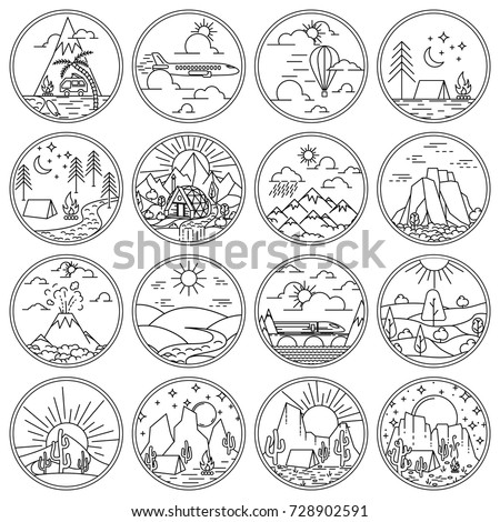 Recreation in nature and tourism scenes icons set. Round Linear icons and logo design elements with nature landscapes. Vector illustration