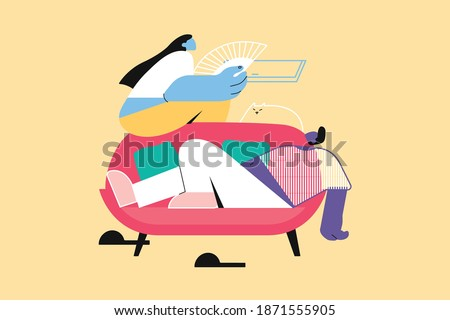 Recreation, summer, rest, couple, idleness concept. Young man woman boyfriend girlfriend characters lying on couch or sofa with hand fan at home. Suffering from heat hot temperature and leisure time.