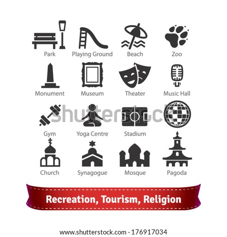Recreation, Tourism, Sport and Religion Buildings Icon Set. For Use With Maps and Internet Services Interfaces.