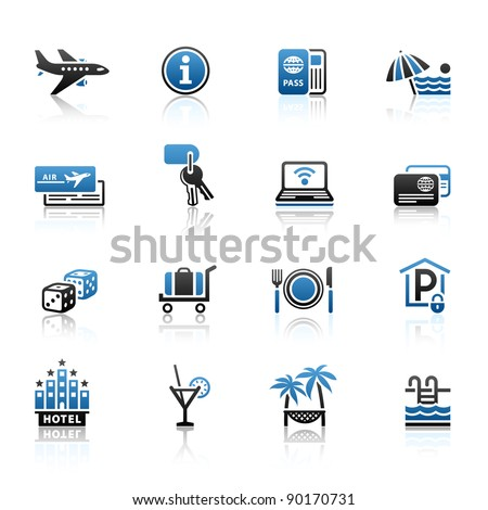 Recreation, Travel & Vacation, icons set. Sport, Tourism with reflection - stock vector