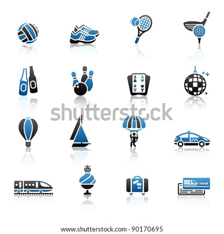 Recreation, Vacation & Travel, icons set. Sport, Tourism with reflection