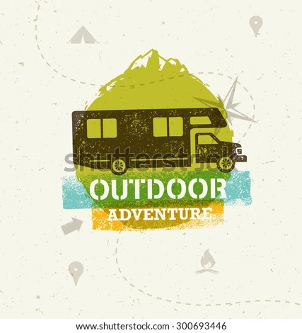 Recreation Vehicle Outdoor Mountain Adventure. Creative Vector Travel Concept On Old Paper Background