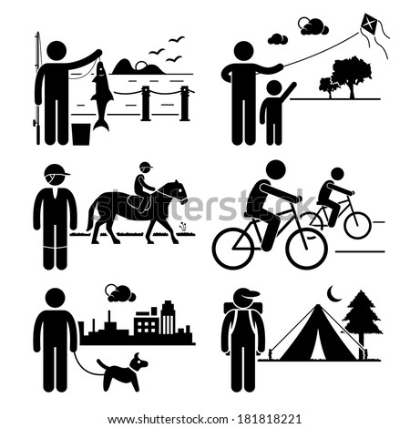Recreational Outdoor Leisure Activities Fishing Kite Horse Riding Cycling Dog Walking Camping Stick Figure Pictogram Icon Clipart
