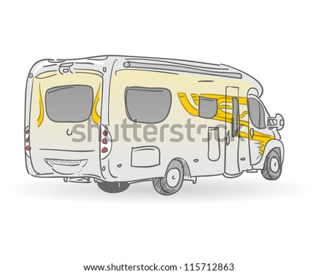 Recreational Vehicle Illustration - Hand drawn image of european RV from back
