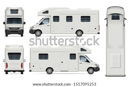 Recreational vehicle vector mockup. Isolated template of camper van on white for vehicle branding, corporate identity. View from left, right, front, back, and top sides, easy editing and recolor