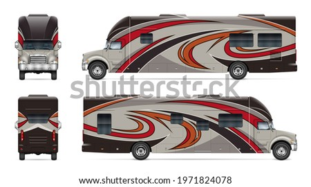 Recreational vehicle vector mockup on white for vehicle branding, corporate identity. View from side, front, back. All elements in the groups on separate layers for easy editing and recolor. Stock foto ©
