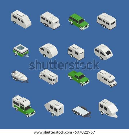 Recreational vehicles isometric icons set on blue background isolated vector illustration