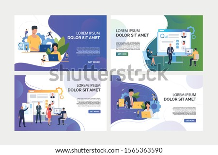 Recruit agency set. Agents using laptops, analyzing job candidates. Flat vector illustrations. Business, career concept for banner, website design or landing web page