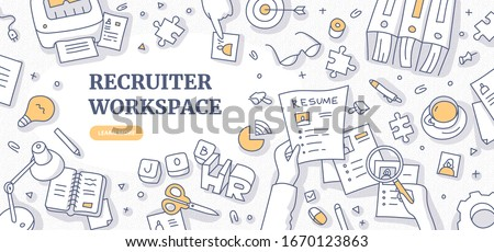 Recruiter workplace doodle concept. Top view on human resource specialist, working with resumes of candidates. Recruitment agency workspace flat lay. Space for text