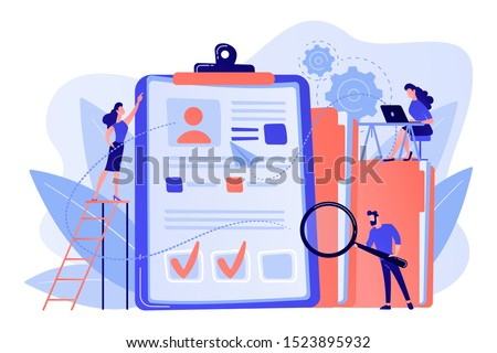 Recruiters and managers searching for candidate in huge CV for position. Recruitment agency, human resources service, recruitment network concept. Pink coral blue vector isolated illustration