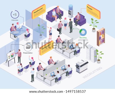 Recruiting agency office interior headhunters and job candidates isometric composition 3d vector illustration
