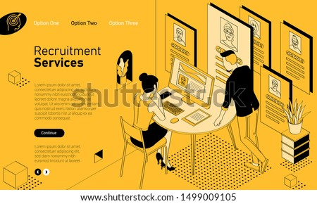 Recruiting and hiring mobile app isometric website template. Black and yellow flat design vector concept for web site and application design and presentation. Home page concept. UI design mockup.