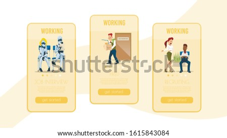 Recruiting, Head Hunter Agency, Job Search Online Service Mobile Application Trendy Flat Vector Vertical Web Banner, Landing Page Templates Set. People and Robots Searching Job Offers Illustration