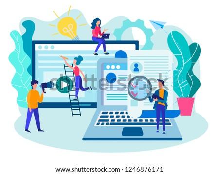 Recruiting, recruitment, recruitment office team, browsing profiles, HR concept. Vector illustration for web design, social media and presentation. #1246876171