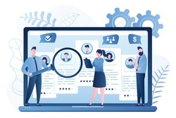 Recruitment agency. Business employment banner. Finding and hiring employees online site or human resources selection. Office managers teamwork. Internet technology. Trendy vector illustration