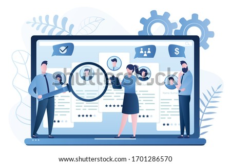 Recruitment agency. Business employment banner. Finding and hiring employees online site or human resources selection. Office managers teamwork. Internet technology. Trendy vector illustration Сток-фото ©