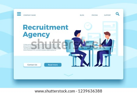 Recruitment agency. Business employment landing page, finding and hiring employees agencies online site or human resources selection. Office manager meet candidate client in workspace vector template