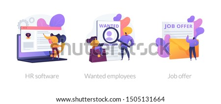 Recruitment agency icons set. Human resources management, personnel hiring, employment contract. HR software, wanted employees, job offer metaphors. Vector isolated concept metaphor illustrations