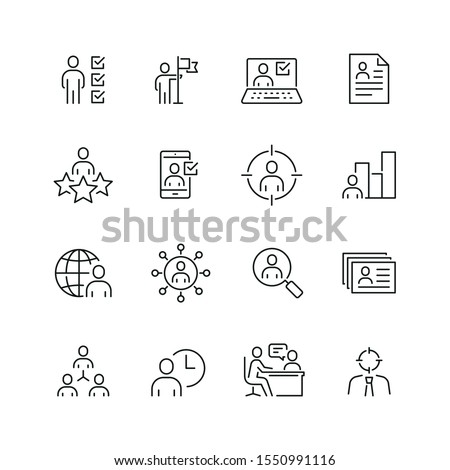 Recruitment and head hunting related icons: thin vector icon set, black and white kit