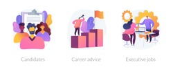 Recruitment and headhunting agency, employment service icons set. Employees hiring. Candidates, career advice, executive jobs metaphors. Vector isolated concept metaphor illustrations