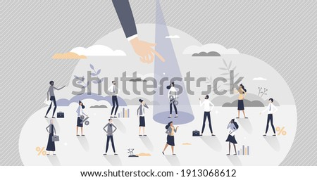 Recruitment candidate choice with spotlight to selection tiny person concept. Best option for human resources with skills, experience and CV vector illustration. Head hunting vision and crowd analysis