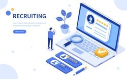 Recruitment concept banner template. Can use for web banner, infographics, hero images. Flat isometric vector illustration isolated on white background.