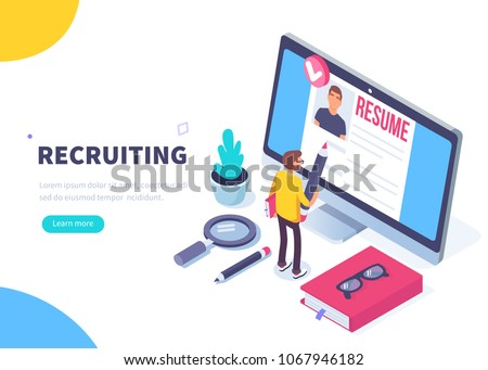 Recruitment concept banner with character. Can use for web banner, infographics, hero images. Flat isometric vector illustration isolated on white background.