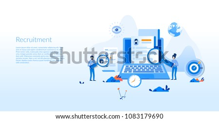 Recruitment Concept for web page, banner, presentation, social media, documents, cards, posters. Vector illustration
